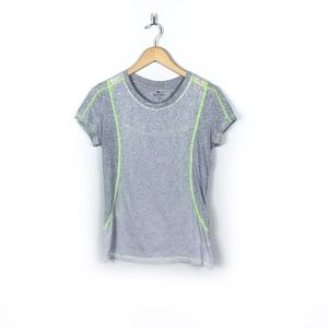 Athleta Gray and Lime Green Tee